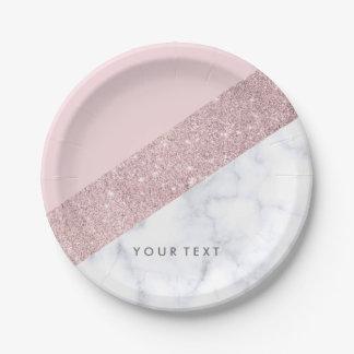 elegant girly rose gold glitter white marble pink paper plate