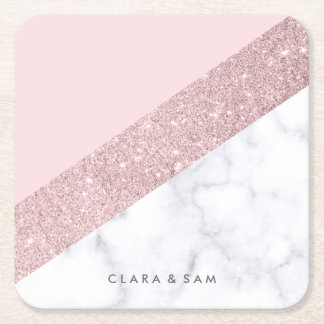 elegant girly rose gold glitter white marble pink square paper coaster