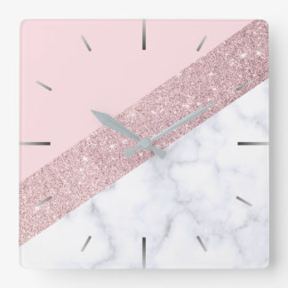 elegant girly rose gold glitter white marble pink square wall clock