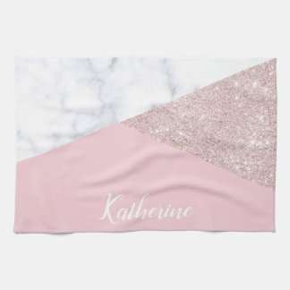 Elegant girly rose gold glitter white marble pink tea towel