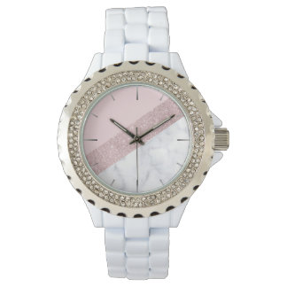 elegant girly rose gold glitter white marble pink watch