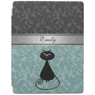 Elegant girly trendy damask black cat monogram iPad cover