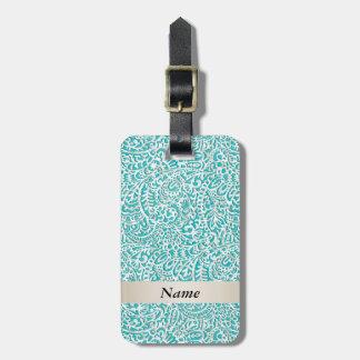 Elegant girly trendy turquoise damask luggage tag