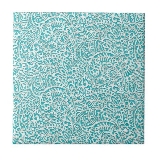 Elegant girly trendy turquoise damask ceramic tiles
