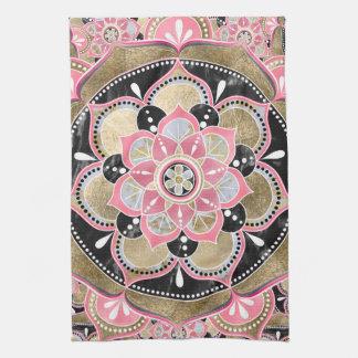 Elegant girly tribal mandala design tea towel