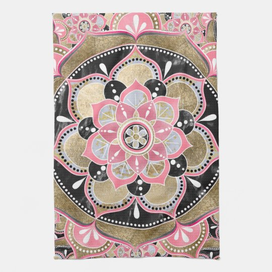 Elegant girly tribal mandala design tea towel