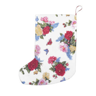 Elegant girly vintage roses  floral butterflies small christmas stocking