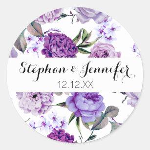 Elegant Girly Violet Lilac Purple Flowers Classic Round Sticker