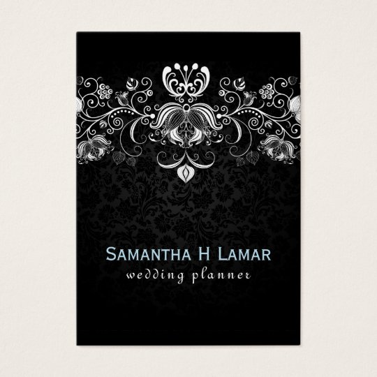 Elegant Girly White Lace On Black Damasks Business Card
