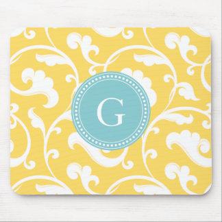 Elegant girly yellow floral pattern monogram mousepads