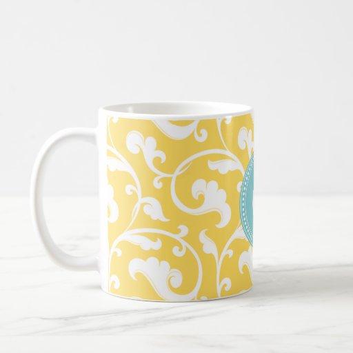 Elegant girly yellow floral pattern monogram coffee mug