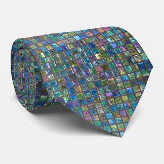 Elegant Glamorous Aqua Colored Shiny Tiles Tie