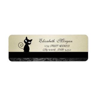Elegant Glamorous Black Cat  Address Label-Heel