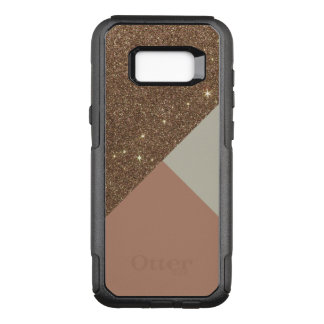 Elegant Glamorous Faux Gold Glitter and Taupe OtterBox Commuter Samsung Galaxy S8+ Case