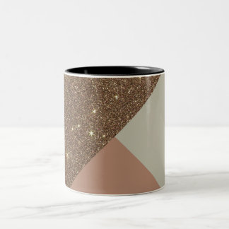 Elegant & Glamorous Faux Gold Glitter & Taupe Two-Tone Coffee Mug