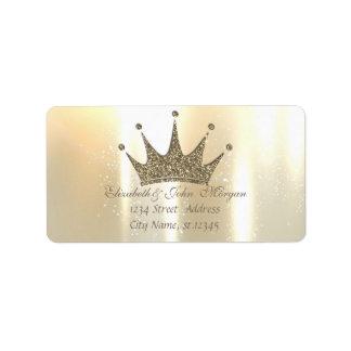Elegant Glamorous Shiny ,Glittery Tiara Princess Address Label