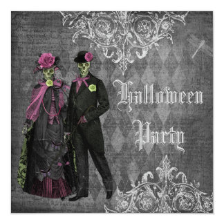 Elegant Glamorous Skeletons Halloween Party 13 Cm X 13 Cm Square Invitation Card