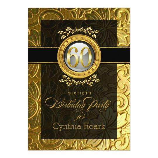 Elegant Glamour Embossed 60th Birthday Card