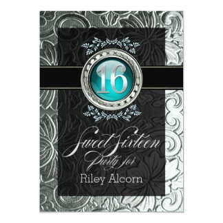 Elegant Glamour Embossed Sweet Sixteen 13 Cm X 18 Cm Invitation Card