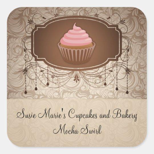 Elegant Glamour Mocha Damask Cupcake Sticker Label