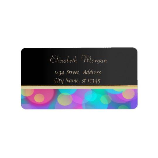 Elegant Glamourous Black,Glittery,Bokeh Address Label