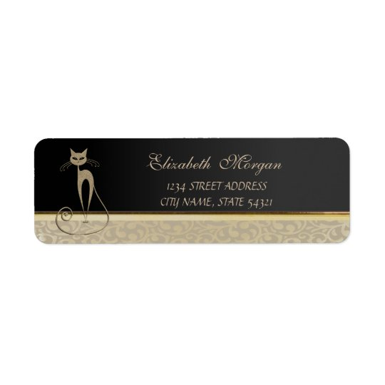 Elegant Glamourous Chic, Cat  Address Label-