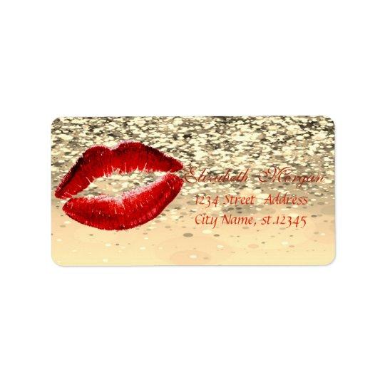 Elegant Glamourous  Chic Glittery Bokeh,Lips Address Label