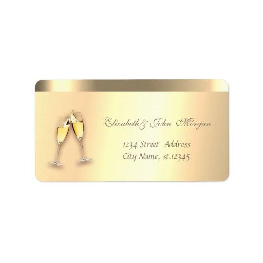 Elegant Glamourous Faux Gold,Wine Glasses Label