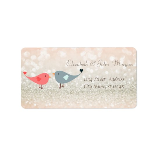 Elegant Glamourous  Glittery,Bokeh,Birds In Love Label