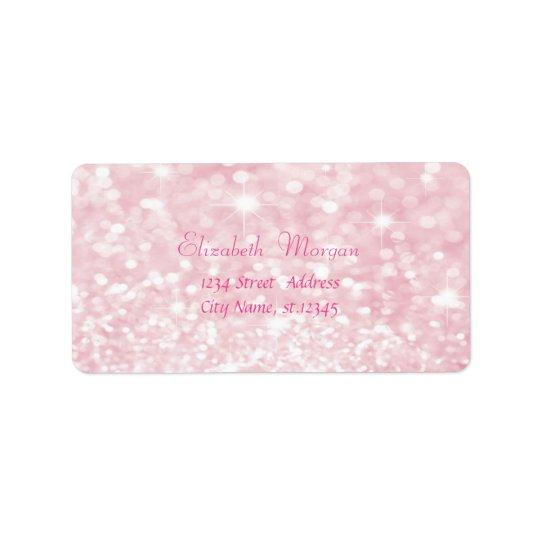 Elegant Glamourous Pink Glittery,Bokeh Address Label