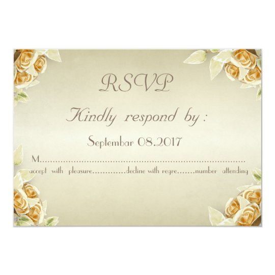 Elegant Glamourous,Roses  Wedding  RSVP Card