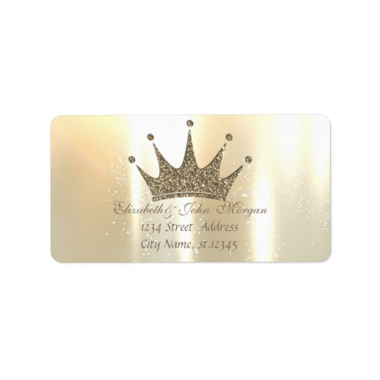Elegant Glamourous Shiny ,Glittery Tiara Princess Address Label