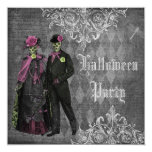 Elegant Glamourous Skeletons Halloween Party 13 Cm X 13 Cm Square Invitation Card