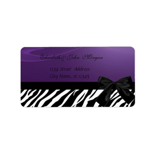 Elegant Glamourous  Stylish ,Purple ,Zebra Print Address Label