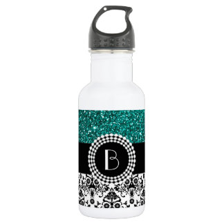Elegant Glitter and Damask Pattern with Monogram 532 Ml Water Bottle