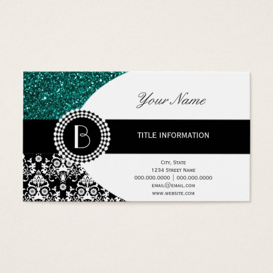 Elegant Glitter and Damask Pattern with Monogram Business
