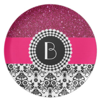 Elegant Glitter and Damask Pattern with Monogram Dinner Plate