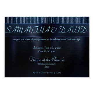Elegant glitter chains blue Wedding invitations