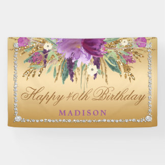 Elegant Glitter Flowers Diamonds Gold Birthday