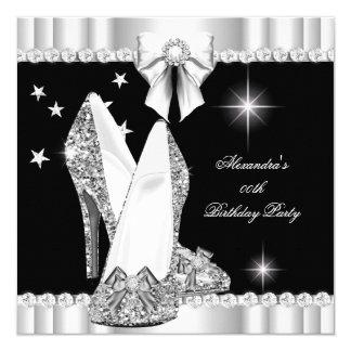 Elegant Glitter Glamour Hi Heels Silver Black 2 Card