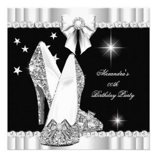 Elegant Glitter Glamour Hi Heels Silver Black 2 Custom Announcements