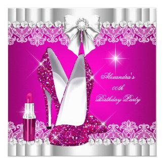 Elegant Glitter Glamour Hot Pink Hi Heels Lipstick 13 Cm X 13 Cm Square Invitation Card