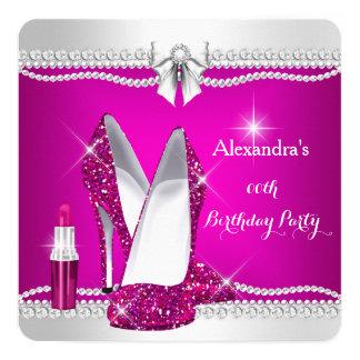 Elegant Glitter Glamour Pink High Heels Lipstick 5.25x5.25 Square Paper Invitation Card
