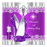 Elegant Glitter Glamour Purple Hi Heels Lipstick 13 Cm X 13 Cm Square Invitation Card
