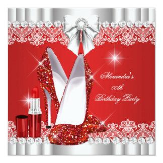 Elegant Glitter Glamour Red Hi Heels Lipstick Card