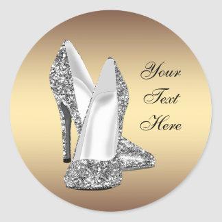 Elegant Glitter Gold High Heel Shoe Stickers