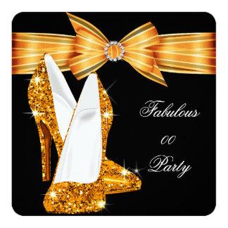"Elegant Glitter Gold Orange Stiletto Fabulous 5.25"" Square Invitation Card"