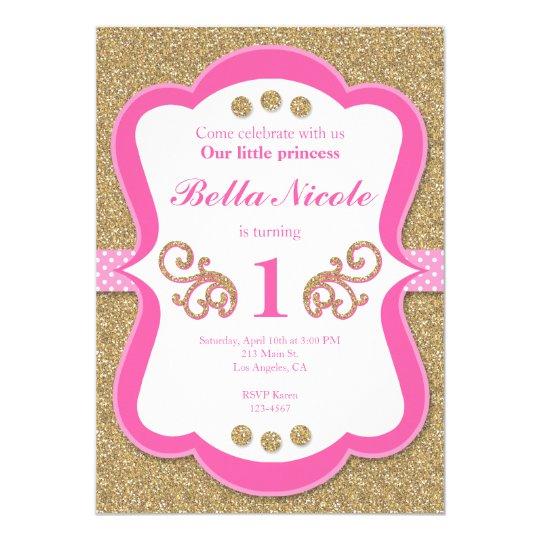 Elegant Glitter Gold & Pink Birthday Invitation