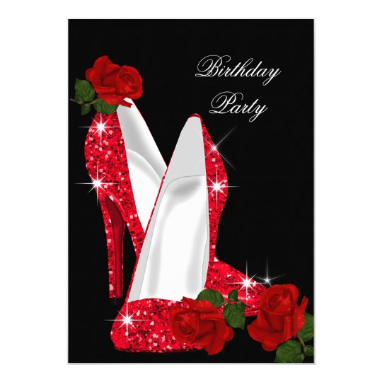 Elegant Glitter High Heels Red Rose Black Birthday