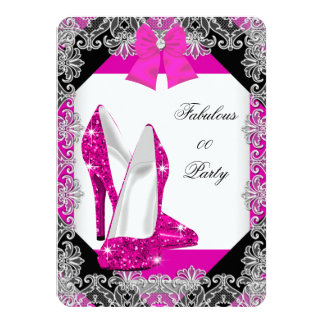 Elegant Glitter Hot Pink Stiletto Birthday Party 4 Personalized Announcement